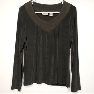 Chico's Travelers 1 long sleeve brown sparkle 58B7